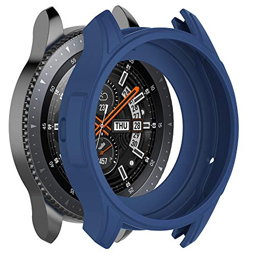 Case Cover for Samsung Galaxy Watch 46mm,Soft Silicone Ultra-Thin Scratch-Proof All-Around Protective Bumper Shell Accessory for Samsung Galaxy Watch 46mm SM-R800/Gear S3 Frontier SM-R760 (Blue)