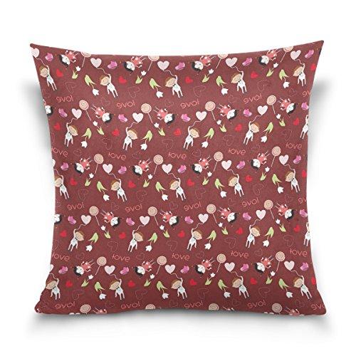 Vipsk Cushion Case Pillow Cover Pillowcase Square 18 x 18 Inch Velveteen Boy Girl Wallpaper Red