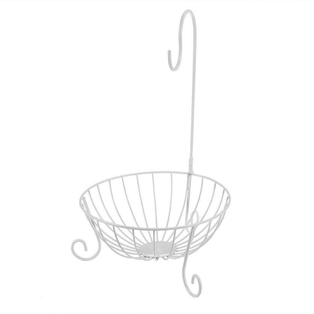 Zhouba novità Kitchen Fruit basket in metallo con staccabile banana Hanger Holder Hook taglia unica Black
