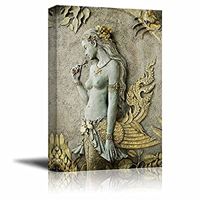 Canvas Prints Wall Art - Beautiful Statue of Half-Bird Half-Woman | Modern Wall Decor/Home Art Stretched Gallery Wraps Giclee Print & Wood Framed. Ready to Hang - 36