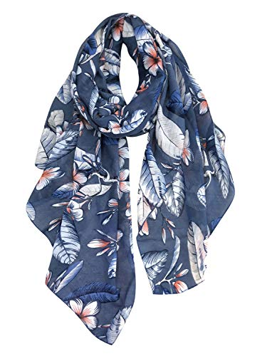 GERINLY Fashion Scarfs for Women Lightweight Flowers Print Long Wrap Shawls (Denim)