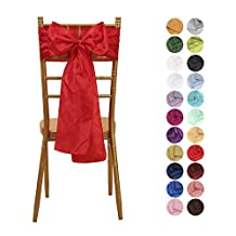 VEEYOO 6x108 inch Pintuck Chair Sashes Ribbon Bows Cover for Wedding Party Decoration Red