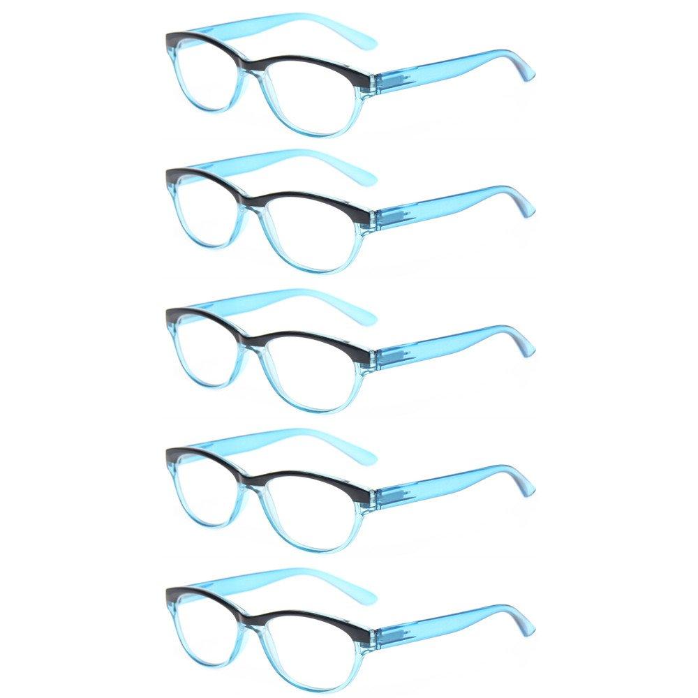 790031d9ba5 Amazon.com  Kerecsen 5 Pairs Cat Eye Ladies Readers Vintage Fashion  Portable Reading Glasses (5 Pack Blue