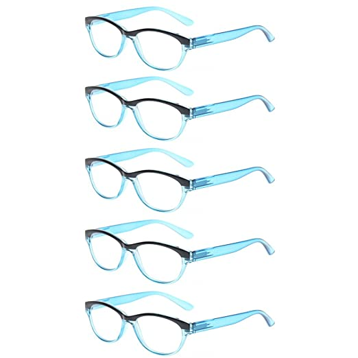 5056db045e Kerecsen 5 Pairs Cat Eye Ladies Readers Vintage Fashion Portable Reading  Glasses (5 Pack Blue