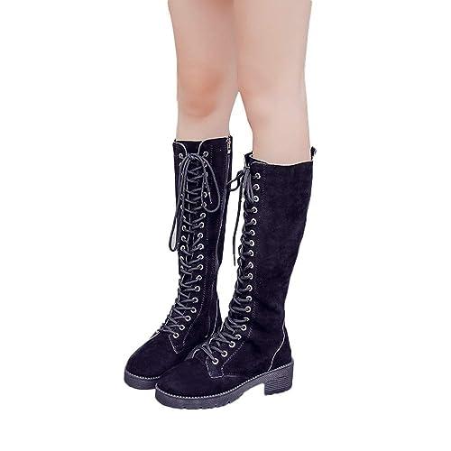 Amazon.com  Knight Military Combat Women,Fheaven Women s Boots Lace ups  Steampunk Gothic Retro Punk Boots Yellow  Shoes 5c533578237f