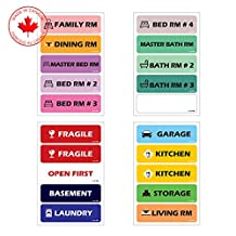"A-One Pro Color Coded Moving Labels - Color Coding Labels for House and Apartment Moving Boxes - Large Fonts, Pack of 200 Removable Moving Stickers, 5 x 1.5"" Each"