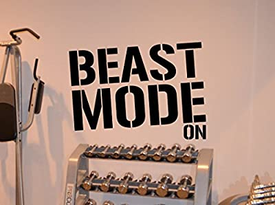 Beast Mode Gym Motivational Fitness Wall Decal Healthy Lifestyle Gym Decor Fitness Vinyl Sticker Fitness Motivation Sports Wellness Gym Wall Art Design Gym Quote Wall Art Mural 57fit