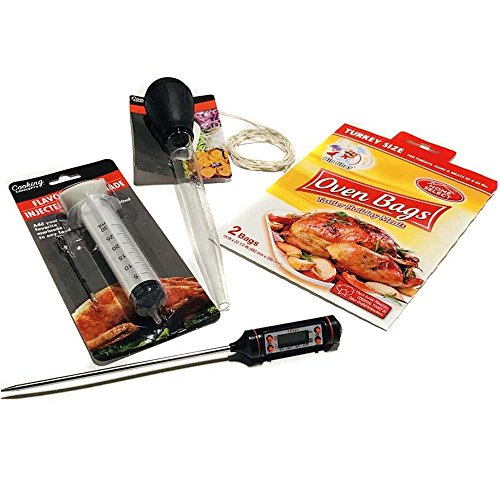 Turkey Cooking Kit 5-Pc Set Thermometer Baster Oven Bags 2 XL Injector Syringe Twine Cotton – Thanksgiving Cooking Supplies Prep Accessories w Bonus Cooking Guide