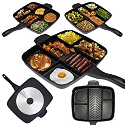 The Master Pan Non-Stick Divided Meal Skillet 15 Grill Fry Oven/Dishwasher Safe by BLOSSOMZ
