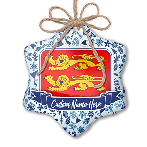 (NEONBLOND Custom Tree Ornament Basse-Normandie Flag Region: France with Your Name)
