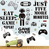 26 Pieces Game Wall Decals Funny Gamer Room Decor Stickers for Boy's Bedroom Playroom Video Game Room, Removable Waterproof Gaming Room Wallpaper Decorations, DIY Cartoon Stickers.