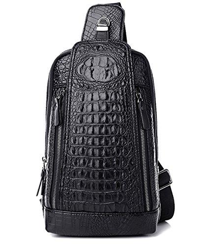 - FiveloveTwo Mens Sling Bags Crocodile Leather Multipurpose Outdoor Shoulder Crossbody Chest Bag Satchels Hiking School Daypack Black