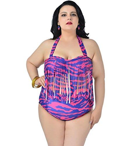 Papaya Wear Women's Retro High Waist Braided Fringe Top Bikini Swimwear Plus Size 2XL,Camo