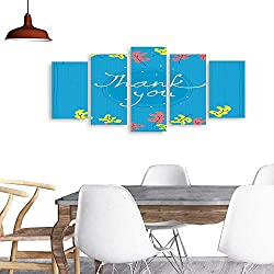 UHOO 5 Piece Wall Art Painting PrintThank You Card Design Template Simple Greeting Card Elegant Note Label Thanksgiving Symbol Sign. odern Decoration Living Room