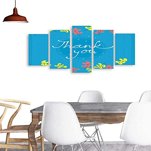 UHOO Canvas Prints Wall ArtThank You Card Design Template Simple Greeting Card Elegant Note Label Thanksgiving Symbol Sign. Living Room Bedroom Home Decorations ()