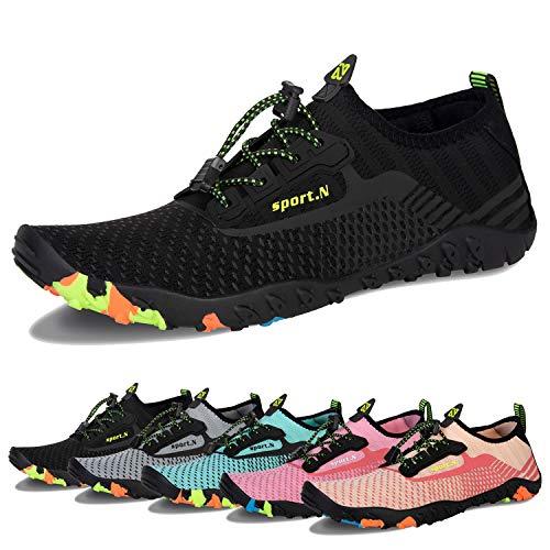 a7cb2fbf4cf4 Water Shoes Mens Womens Beach Swim Shoes Quick-Dry Aqua Socks Pool Shoes  for Surf Yoga Water Aerobics (J-Black, 47)