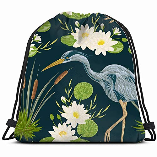 (Heron Bird Water Lily Animals Wildlife Watercolor Drawstring Backpack Gym Dance Bags For Girls Kids Bag Shoulder Travel Bags Birthday Gift For Daughter Children Women)