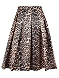 CHARLES RICHARDS CR Women's Yellow Leopard Print Silky Skirt Midi Skirt,Medium