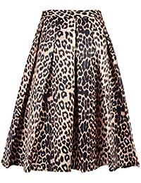 Women's Print Floral Tiger Pattern Midi Skirt