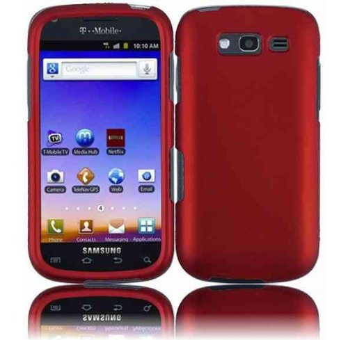 For T-mobil Samsung Galaxy S Blaze 4g T769 Accessory - Red Hard Case Protector Cover + Lf Stylus Pen (Cell Phones Samsung Mobil T)