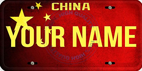 Personalized Custom Name License China Flag Car Vehicle License Plate Auto Tag ()