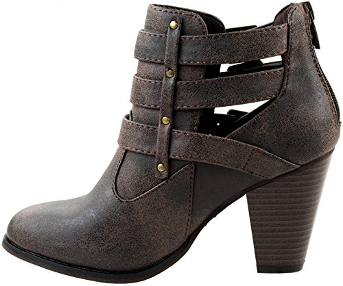 Forever Three Shoes Heel Buckled Boots Women's with Chunky Ankle Brown Short Riding Strap and 62 Camila rrTw7qA