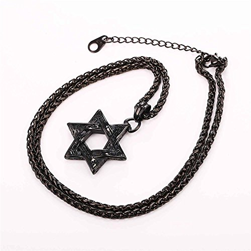 Jewish Jewelry Vintage Style Amulet Pendant for Men & Women Chain Steel Based Black Gun Plated Star of David Necklace