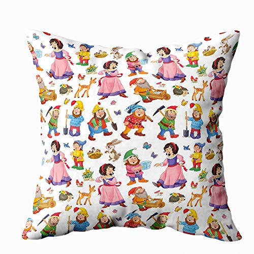 Gesmatic Sofa Pillow Case, Zipper Pillow Cases 18X18 Pillow Cover Pattern Snow White and The Seven Cute Princess Isolated on Background Standard Pillow Cases Sofa Pillow Covers Art Pillow Case