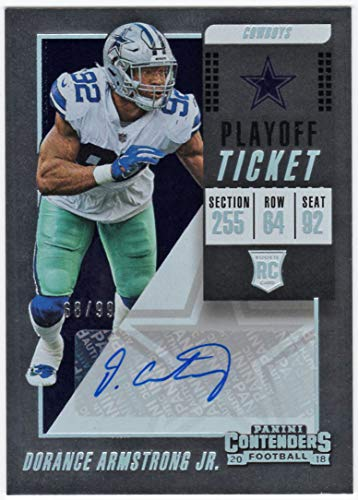 Dorance Armstrong Jr. 2018 Panini Contenders RC Playoff Ticket Auto Serial #68/99 Dallas Cowboys Rookie Autograph