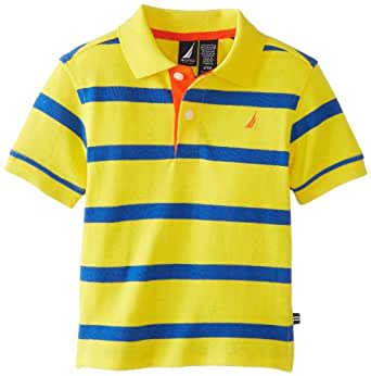 Nautica Baby Boys' Short Sleeve Contrast Stripe Polo, Yellow, 18 Months