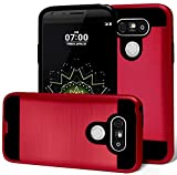 LG G5 Case, Phonelicious® [Slim Fit] [Brushed Metal Texture] [Heavy Duty] Ultimate Drop Protection Rugged Cover for LG G5 + Clear Screen Protector & Stylus (RED)