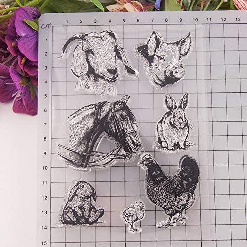 lapin Tampon en caoutchouc transparent en forme danimal cochon poule pour scrapbooking album photo mouton d/écoration de cartes