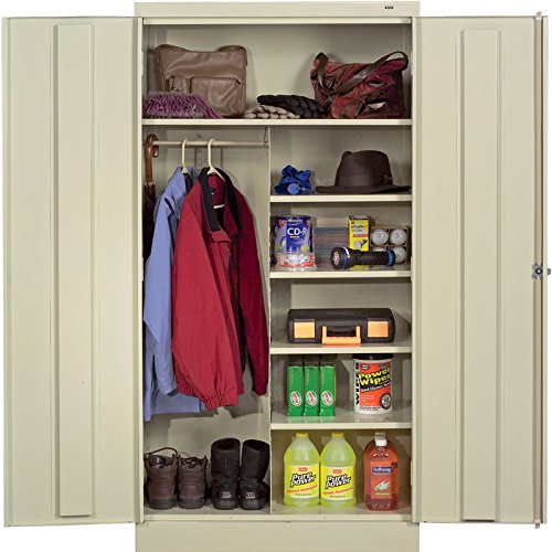 Tennsco Reinforced Shelving - Tennsco Knockdown Combination Cabinet - 36 Inch W x 24 Inch D x 72 Inch H, Putty, Model 1482