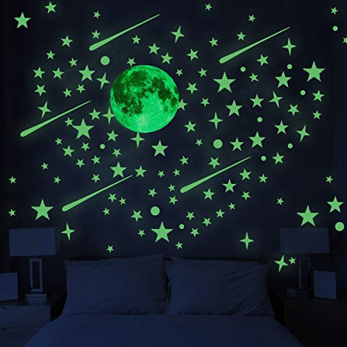 Glow in the Dark Stars with Moon for Ceiling or Wall Stickers - Glowing Wall Decals Stickers Room Decor Kit ()