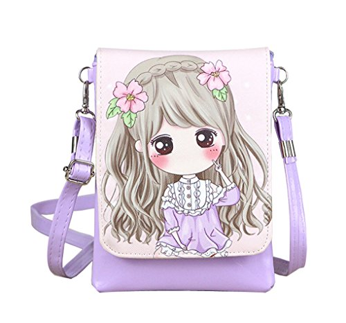 Teens Girls Kids Students Cute Cartoon Theme Mini Shoulder Bags Cross Body Bags Key Money Cell Phone Holder Case Purse Small Wallet Pouches Clutch Handbag 2r-5
