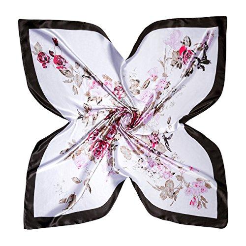 Flowomen Small Silk Neckerchief Summer Satin Soft Charmeuse Scarf Handbag Decoration Hair Protection Kerchief Floral Pattern Wrap Fashion Graphic Print Scarves for Girls (Black1)