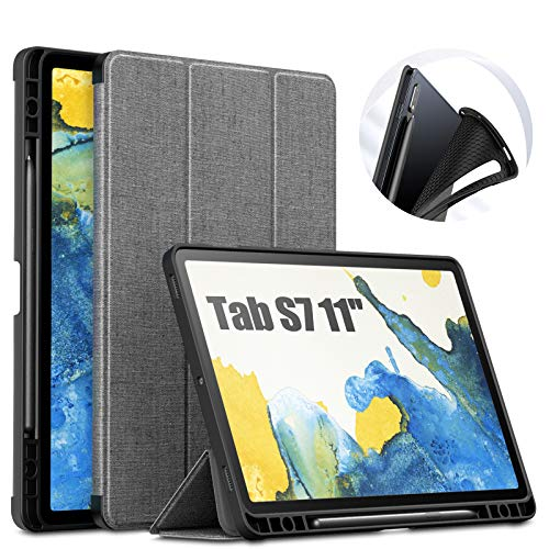 INFILAND Galaxy Tab S7 Case with S Pen Holder, Slim Tri-Fold Case Cover Compatible with Samsung Galaxy Tab S7 11-inch SM-T870/T875/T876 2020 Release Tablet [Auto Wake/Sleep], Gray