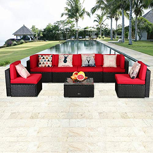 eclife Outdoor Rattan Sofa 7 PCS Set Patio PE Wicker Black Sofa Couch Furniture Set Removable Cushions W/ 6 Pillows and Tea Table (7PCS Red) (Furniture Pink Patio)