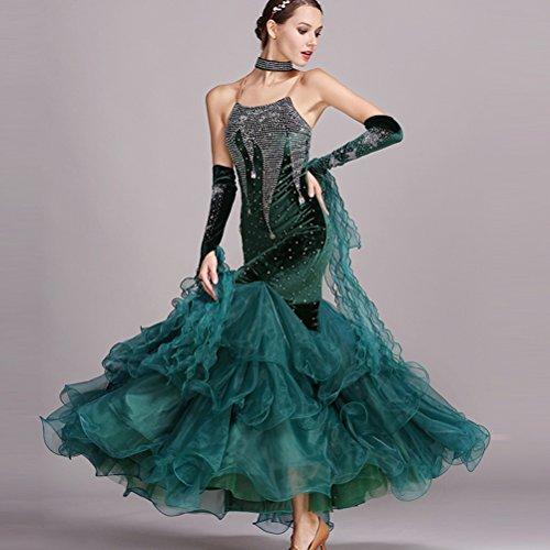 Manches Moderne Wqwlf Nationale Valse Green Costume Sans Femmes Swing Robe Big De Sling Jupe Pour xl Compétition Danse Performance qPxfrwt61P