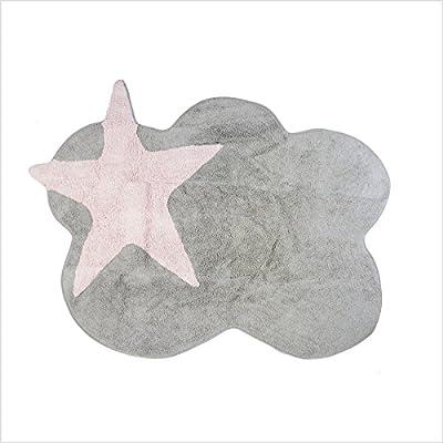 Lilipouce Alfombra Infantil algodón Nube Estrellas, Tela, Gris ...