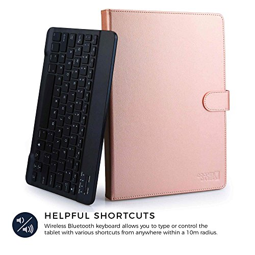 Cooper Backlight Executive Keyboard case for 7-8'' inch Tablets | 2-in-1 Bluetooth Wireless Backlit Keyboard & Leather Folio Cover | 7 Color LED Keys, 100HR Battery, 13 Hotkeys, Universal, Rose Gold by Cooper Cases (Image #3)