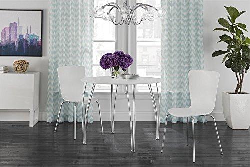 Novogratz Round Dining Table with Chrome Plated Legs, White by Novogratz (Image #4)