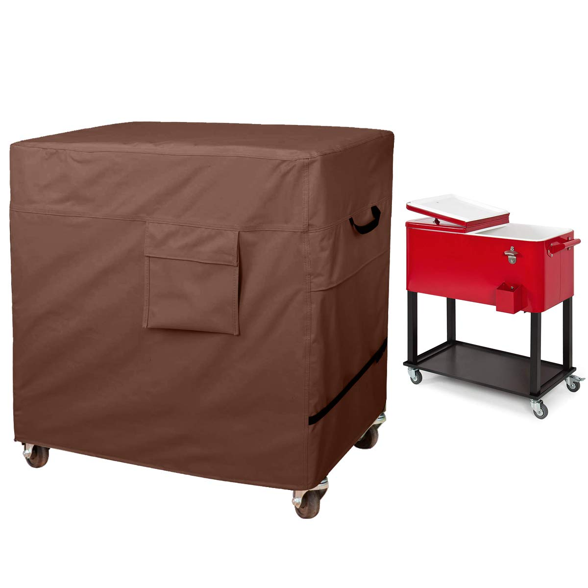 80 Quart Rolling Ice Chest Cover, Patio Party Bar Drink Cooler Cart Cloth Cover, Patio Cooler Protective Cover, Cooler Cart Dust Cover, Waterproof And Universal Size (43''L x 22''W x 32''H, Brown) by Hersent