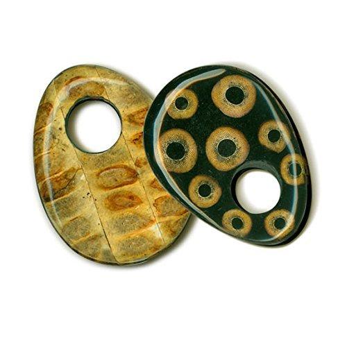(Ebony Hardwood Base (Bamboo Eye & Seed Pod Inlaid) Reversible Laminated Pendant. Approx. 3 X 2.25 Inches)