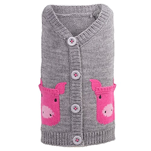 The Worthy Dog Pig Cardigan for Dogs, Medium, Gray by The Worthy Dog