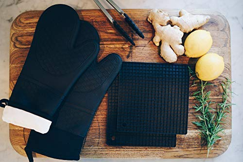 All My Delight Black Silicone Oven Mitts Potholders and Stainless Steel Silicone Tong Kitchen Counter Safe Trivet Mats New Increased Slip-Resistance Advanced Heat Resistant 5 Pieces-Set