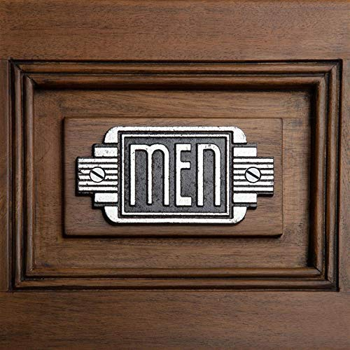 Design Toscano Streamlined Art Deco Men's Room Door Sign, 5 Inch, Two Tone Black & Silver -