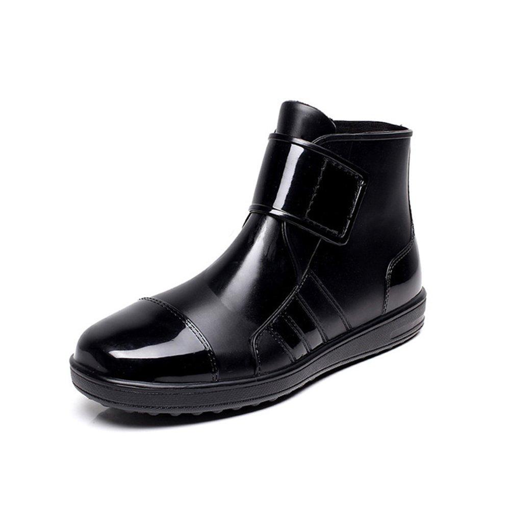 XIANV Men's Boots Ankle Waterproof Skin Fashion Rubber Short Boots Black Leisure Non-Slip Breathable Water Footwear (44, Black)