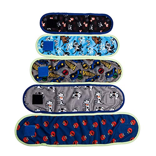 "VIILER - 4 Pcs Reusable Dog Diapers and Belly Bands for Small Male Boy Dog Puppy (S: Adjustable 8.6""-9.6"" Random Colors)"