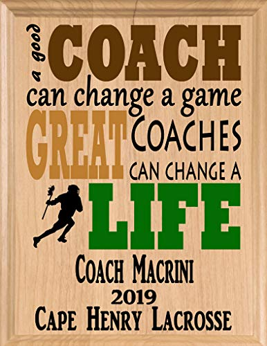 Broad Bay Lacrosse Coach Gifts Personalized Coaches Gift LAX Team Appreciation Thank You Plaque